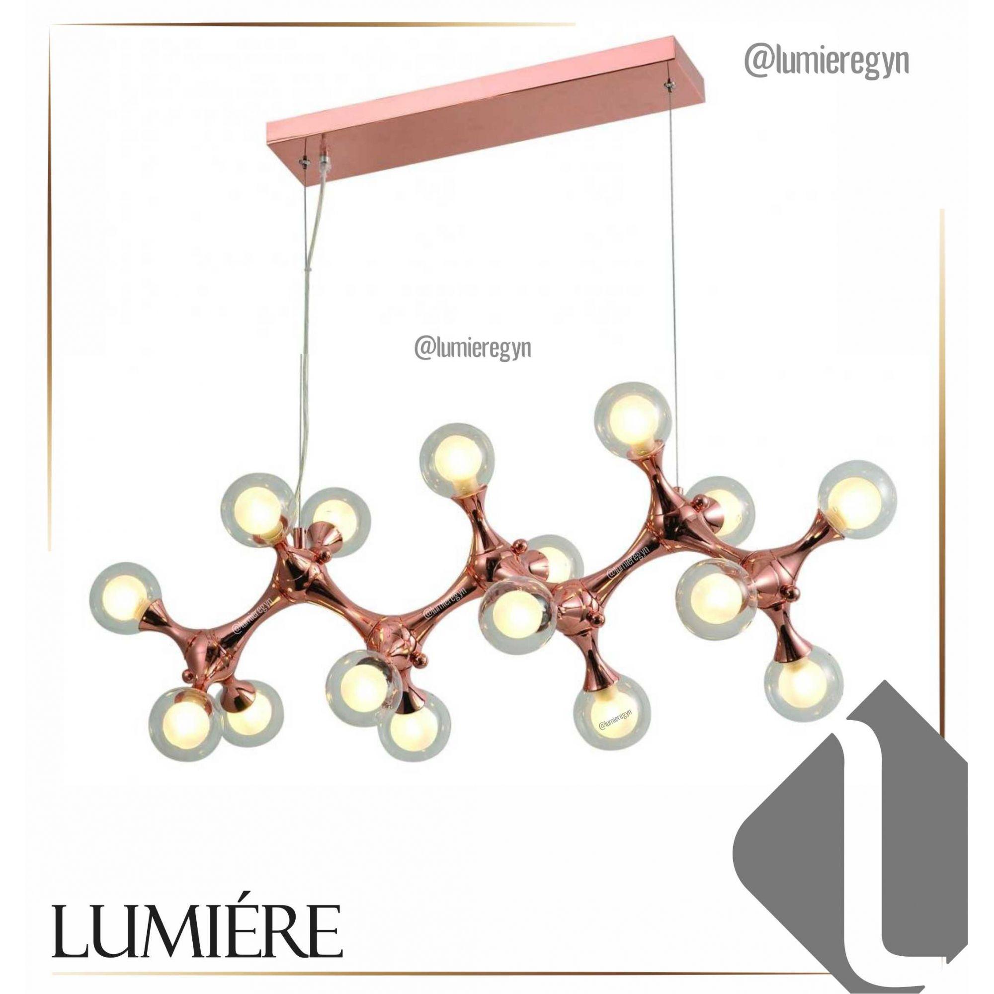 Pendente DNA Molecula / Átomo -  Globo Vidro 16xg9 -  Rose Gold  PD1298G