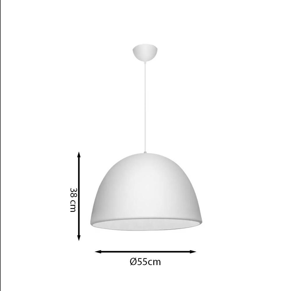 PENDENTE ITAMONTE 429/55 ALUMINIUM ½ OVAL 3L E27 A60 LED Ø550X380MM INTERIOR BRANCO