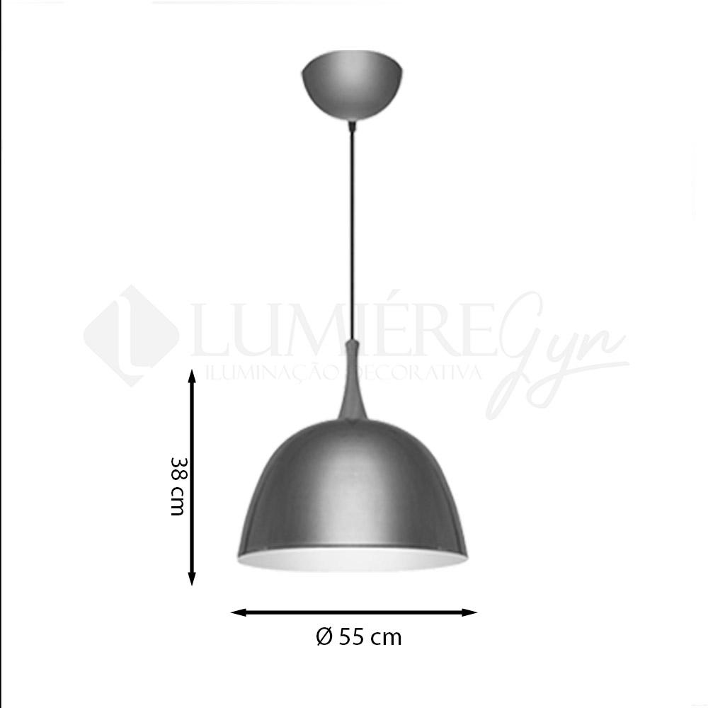 PENDENTE ITAMONTE 431/55 ALUMINIUM ½ OVAL 1L E27 A60 LED Ø550X380MM