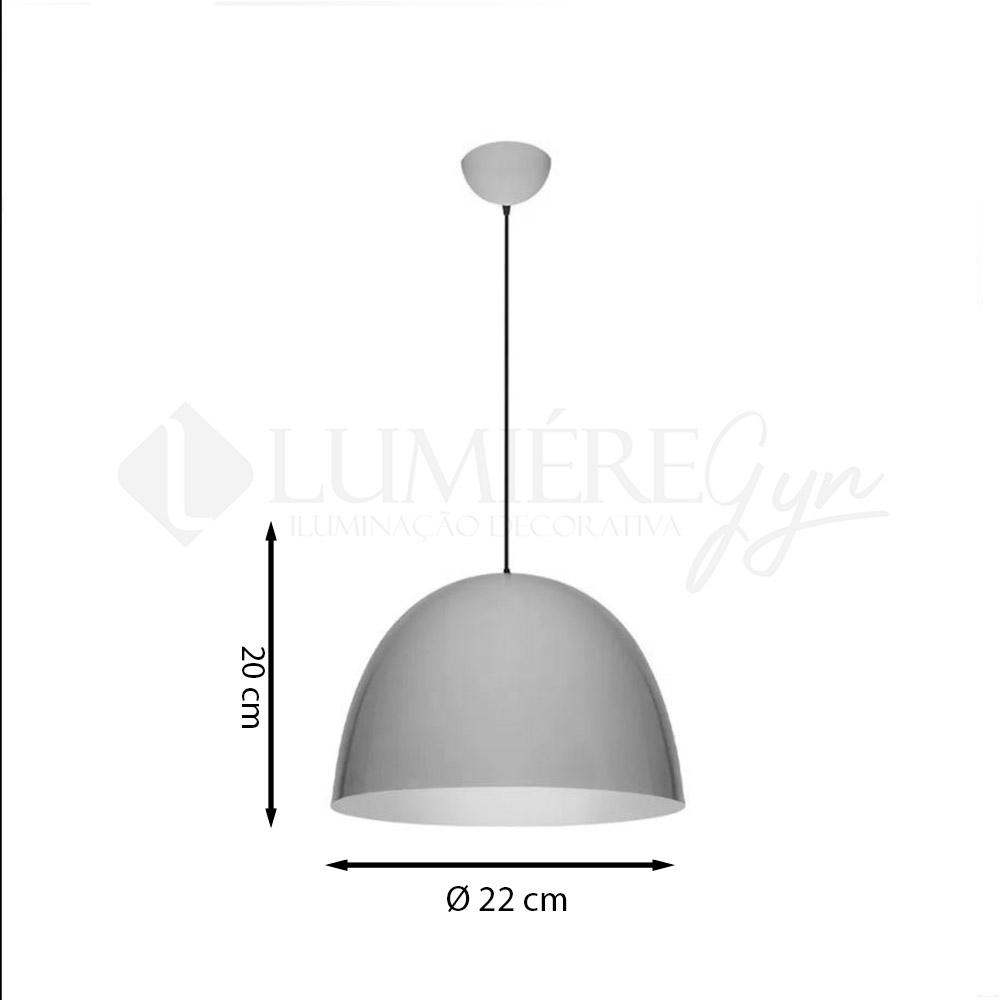 PENDENTE ITAMONTE 432/22 ALUMINIUM ½ OVAL 1L E27 A60 LED Ø220X200MM