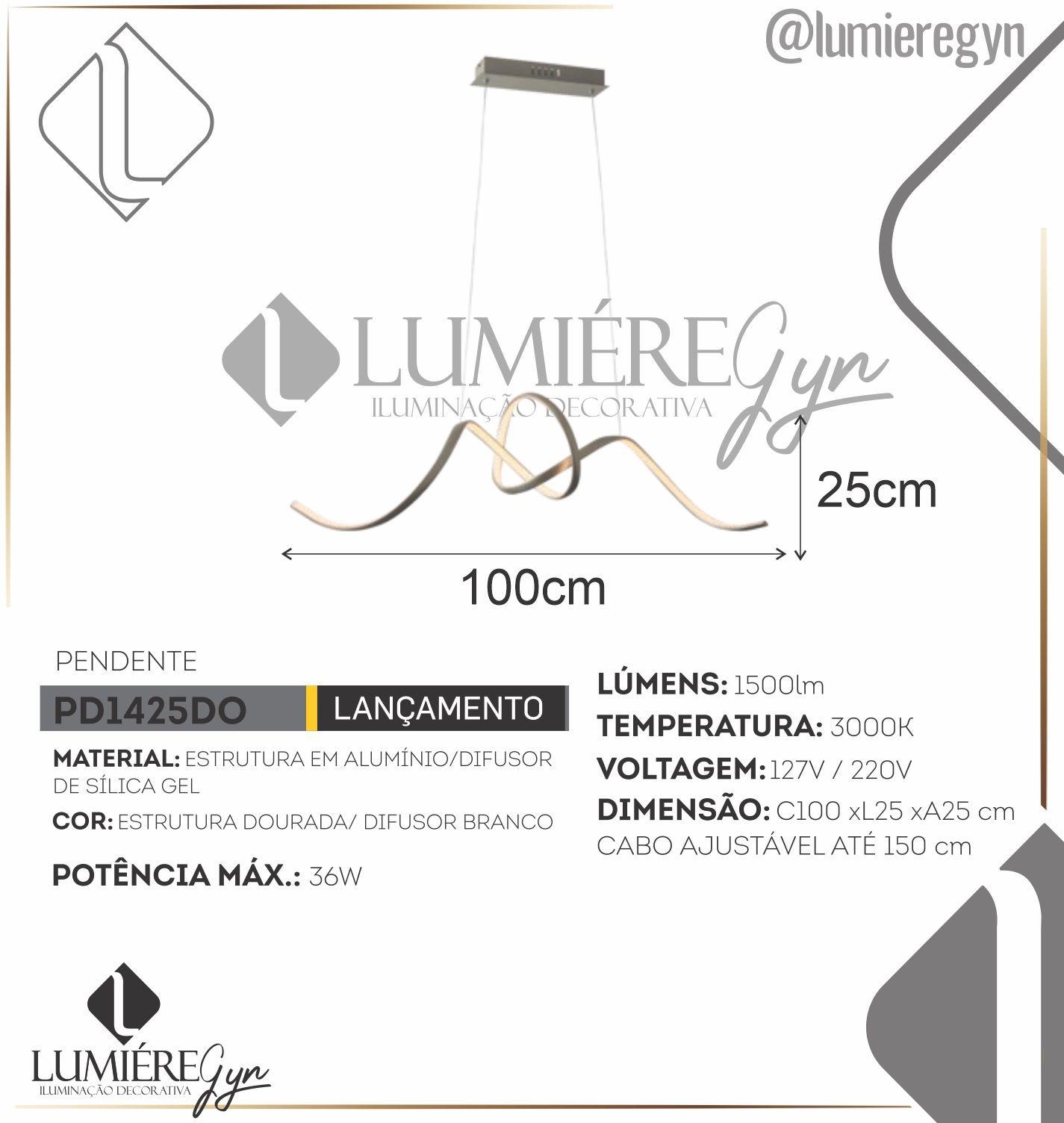 PENDENTE LACE DOURADO CASUAL LIGHT PD1425DO