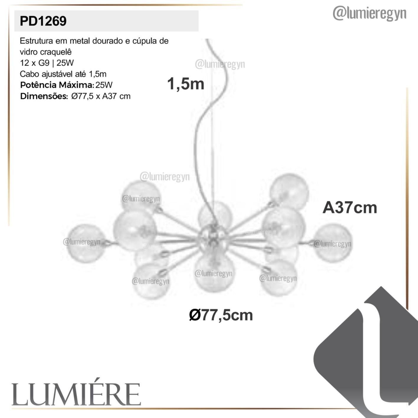 Pendente Quality PD1269 Atomy 12L G9 Ø775x370mm Dourado