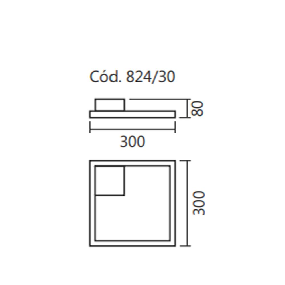 PLAFON SPOTLINE 824/30 CASA LED 22W 3000K/4000K BIVOLT 80X300X300MM