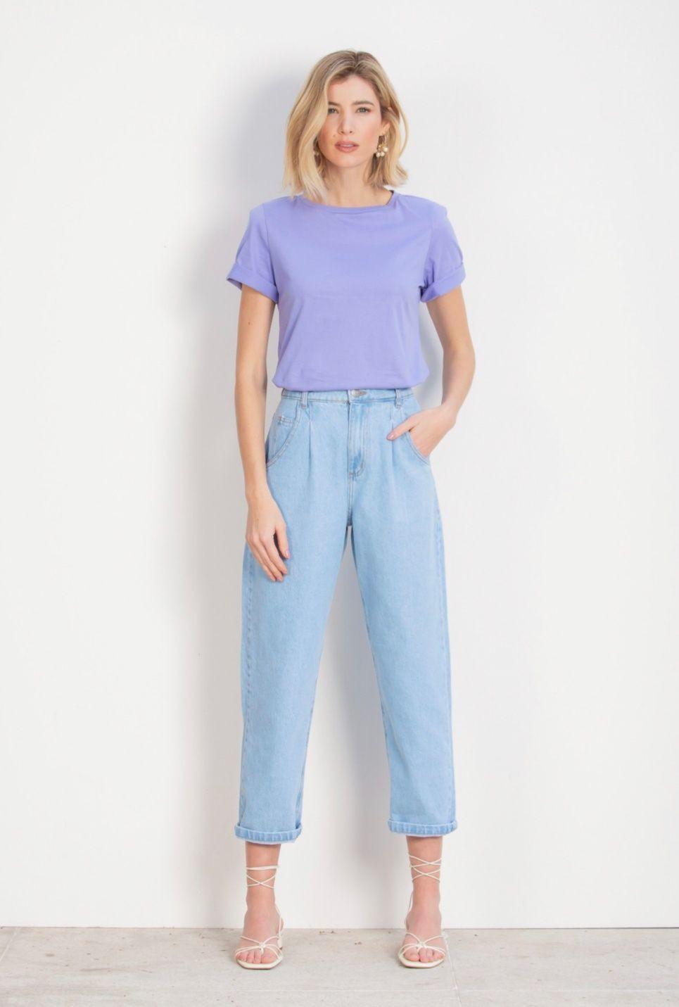 Calça Silvia Slouchy jeans claro