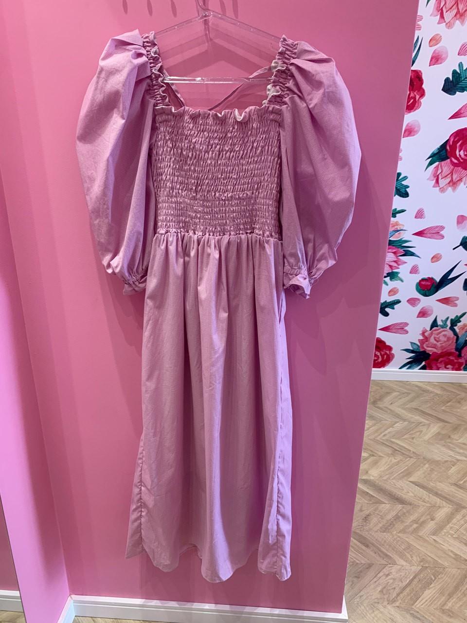 Vestido Camille manga bufante rosa