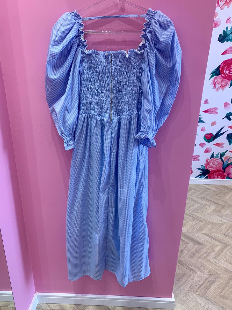 Vestido Camille manga bufante azul
