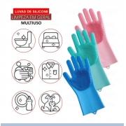Luva Escova Esponja Magica De Silicone Limpeza Lavar Louça