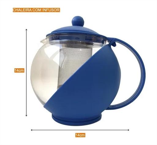 Bule De Vidro Com Infusor Inox Para Chá - Chaleira