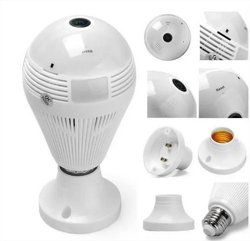 Camera Ip Seguraca Lampada Vr 360 Panoramica Espia Wifi