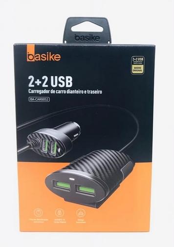 Carregador Veicular Basike 2+2 Usb Dianteiro Traseiro