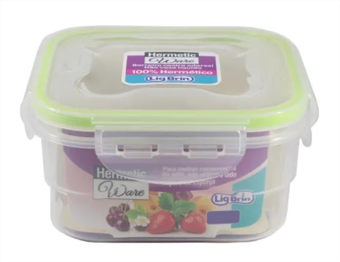 Cj 2 Potes Herméticos Mantimento Quadrado Alimentos 660 ml