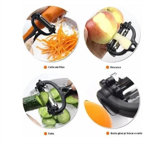Descascador Fitas E Fatiador De Legumes Frutas Espiral 3x1
