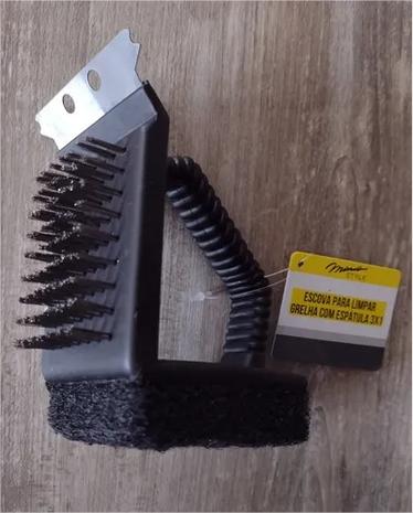 Escova De Aço Inox 3 Em 1 Para Limpar Grelha Churrasqueira