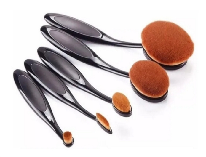 Kit 5 Pinceis Escovinha Oval Para Maquiagem Preto