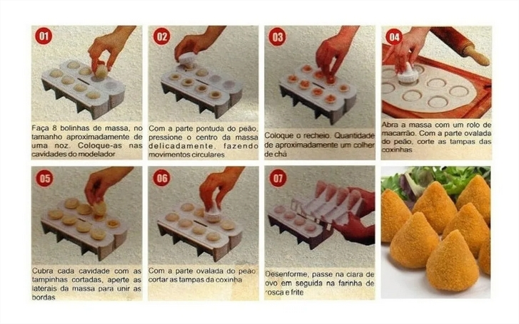 Máquina De Fazer Salgados Coxinhas 8 Formas Kit Completo