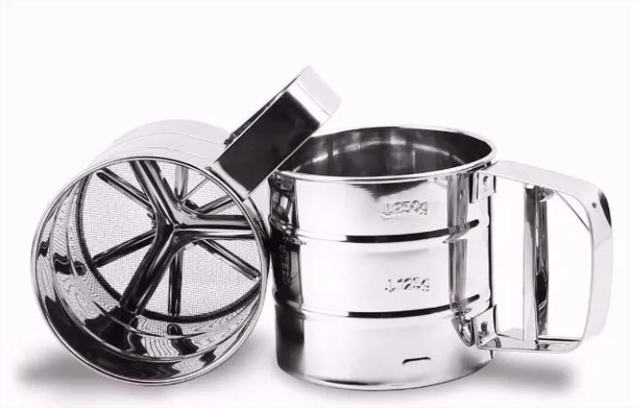 Polvilhador Aço Inoxidável C/ Mecanismo Peneira Manual Bolo vendedor