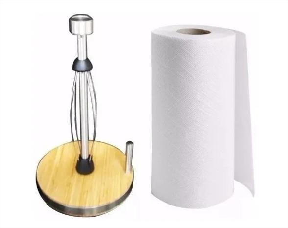 Porta Papel Toalha Aço Inox E Base Em Bambu