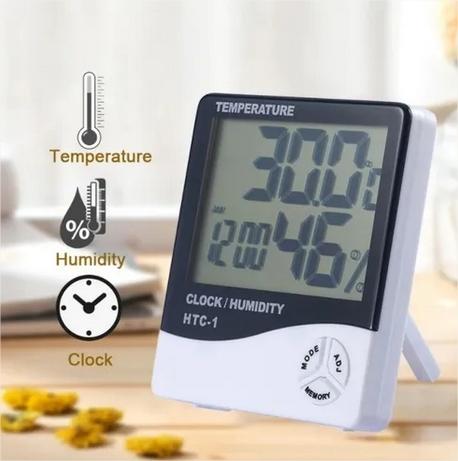 Termo-higrômetro Digital Termômetro Higrômetro Relógio