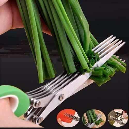 Tesoura Para Verduras Vegetais Multi Cortes Lamina Inox