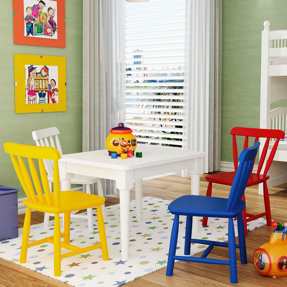 Conjunto Infantil Mesa Com 4 Cadeiras - Envio Imediato
