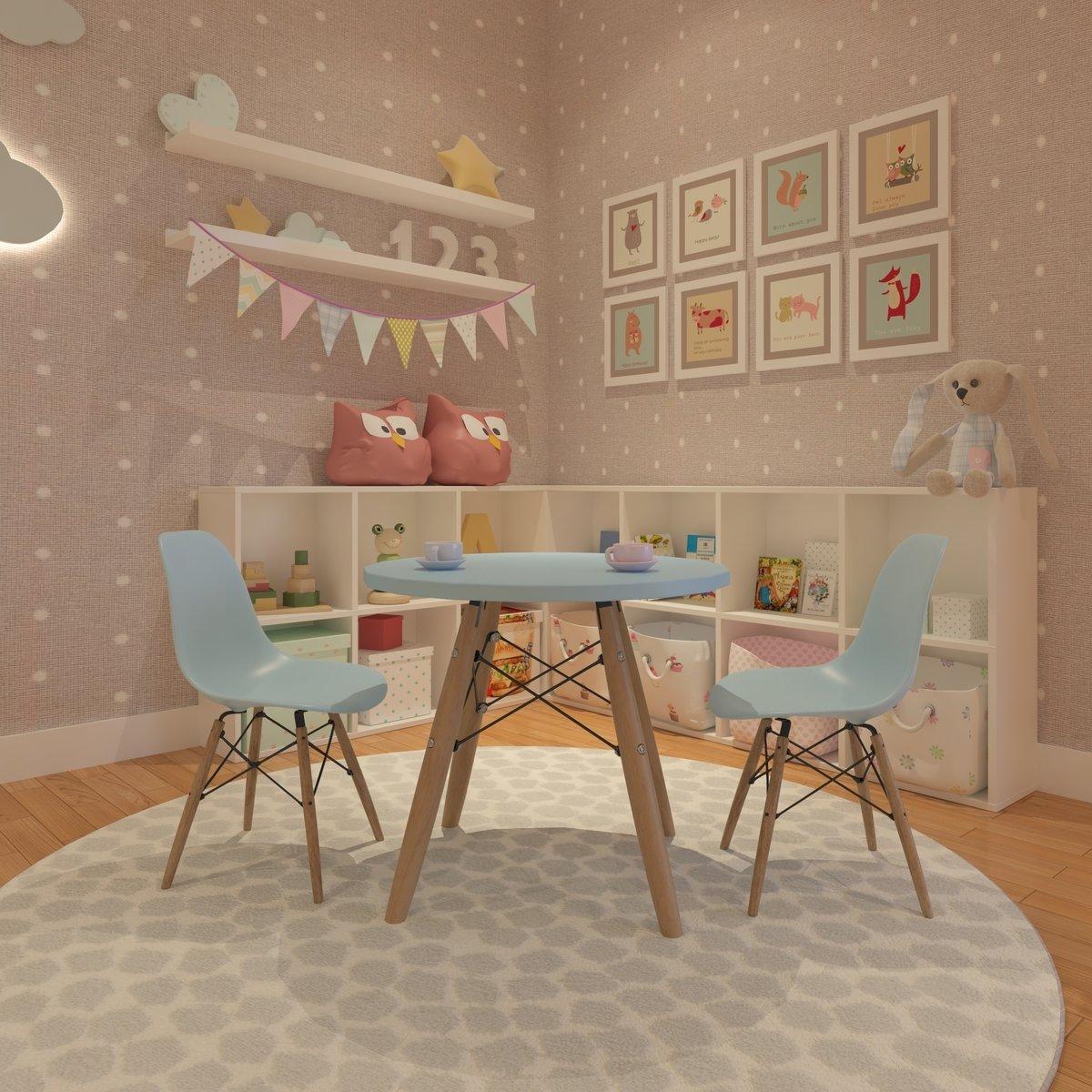 Conjunto Mesa Square com Cadeiras Eiffel Infantil