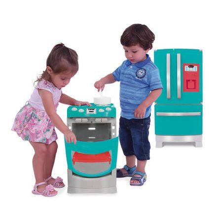 Kit Refrigerador Side by Side Mini Chef Fun + Fogão Gourmet Mini Chef Fun