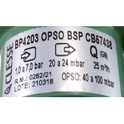 Regulador de Gás CLESSE - 25m³/h - Ps: 220mmca - GÁS NATURAL - BP4203 com OPSO - Ref. 02595
