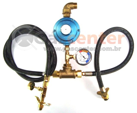 Central de Gás GLP - 1P13 + 1P45 - Regulador Aliança 7Kg/h - Manômetro - Ref: 01174