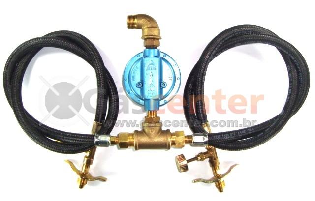 Central de Gás GLP - 2 P13 - Chicote 1metro - Regulador Aliança 7Kg/h - Registros Latão - Ref: 01178