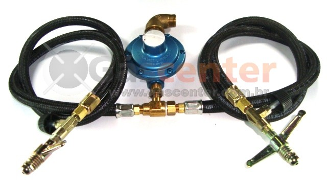 Central de Gás GLP - 2 P13 - Chicote 1metro - Regulador Aliança 7Kg/h - Registros Zamac - Ref: 01180