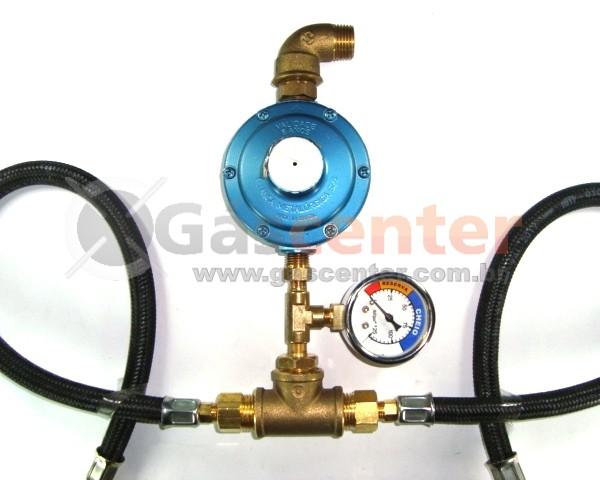 Central de Gás GLP - 2 P13 - Chicote 50cm - Regulador Aliança 7Kg/h - Manômetro - Ref: 01176