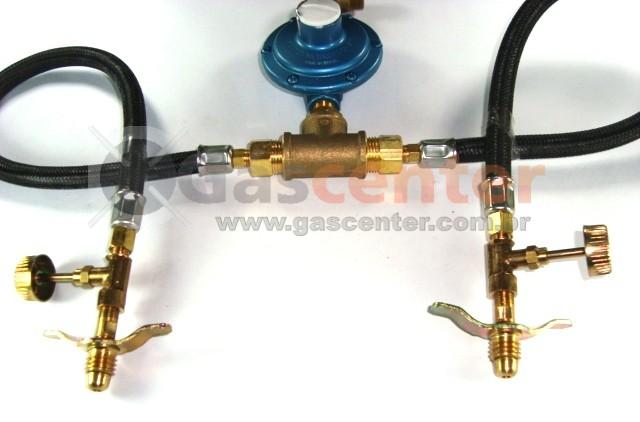 Central de Gás GLP - 2 P13 - Chicote 50cm - Regulador Aliança 7Kg/h - Registros Latão - Ref: 01175