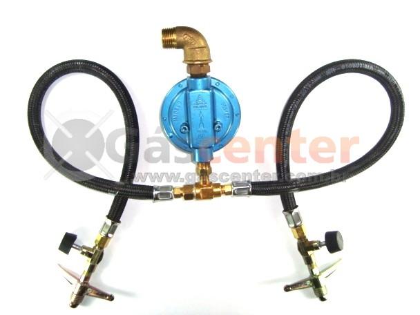 Central de Gás GLP - 2 P13 - Chicote 50cm - Regulador Aliança 7Kg/h - Registros Zamac - Ref: 01177