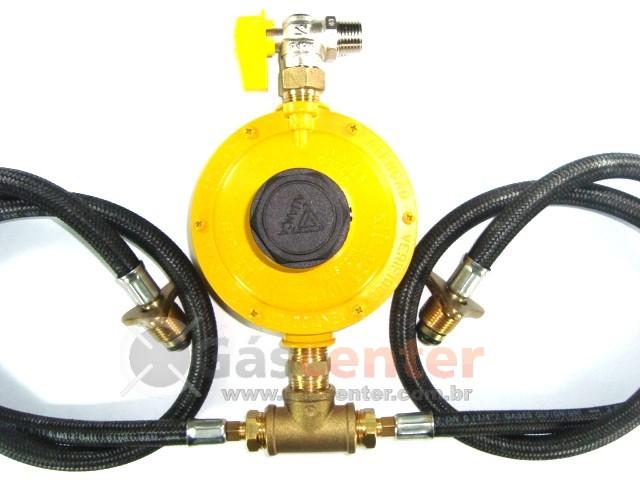 Central de Gás GLP - 2 P45 - Chicote 1metro - Regulador ALIANÇA 12Kg/h - Ref: 01327