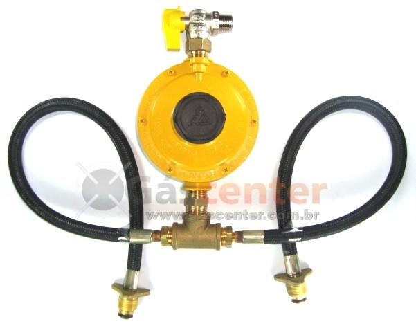 Central de Gás GLP - 2 P45 - Chicote 50cm - Regulador ALIANÇA 12Kg/h - Ref: 01326