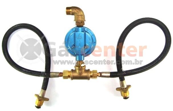 Central de Gás GLP - 2 P45 - Chicote 50cm - Regulador Aliança 7Kg/h - Ref: 01181