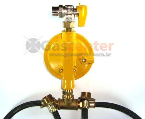 Central de Gás GLP - 2 P45-LIQUIGÁS - Chicote 50cm - Regulador ALIANÇA 12Kg/h - Ref: 01329