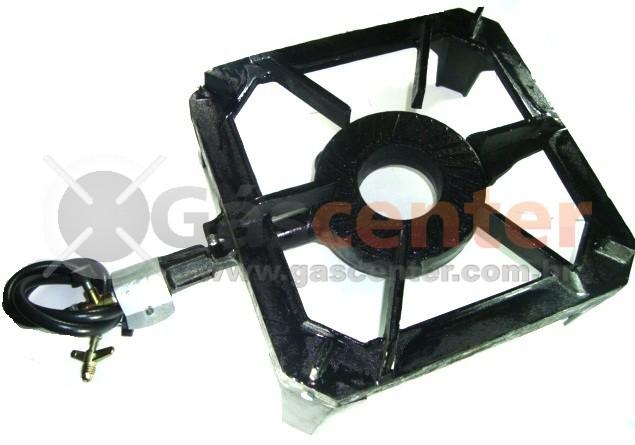 Fogareiro Industrial QUADRADO Ferro Fundido Alta Pressão com Instalação - 1 BOCA - Ref. 00635