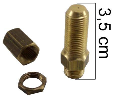 """Injetor COSMOPOLITA 35mm com Luva e Porca - 1/8""""NPT(M) - Furo 0,60mm - Ref. 00909"""