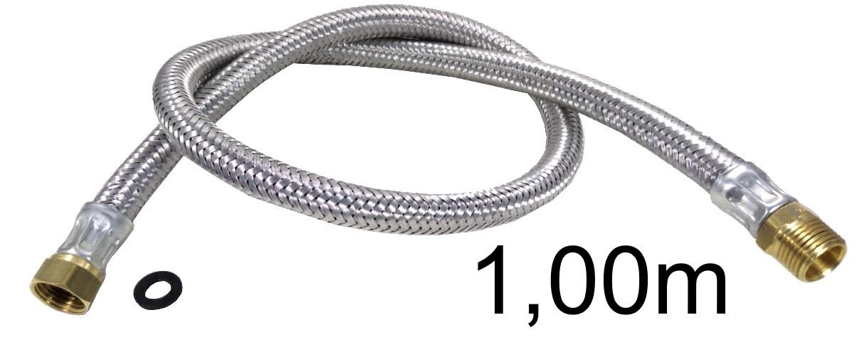 """Mangueira Flexível Malha de Aço 1/2"""" - 1,00m - Ref. 01982"""