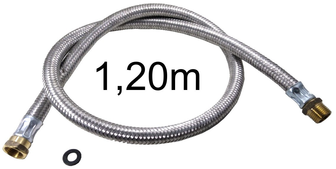 """Mangueira Flexível Malha de Aço 1/2"""" - 1,20m - Ref. 01983"""