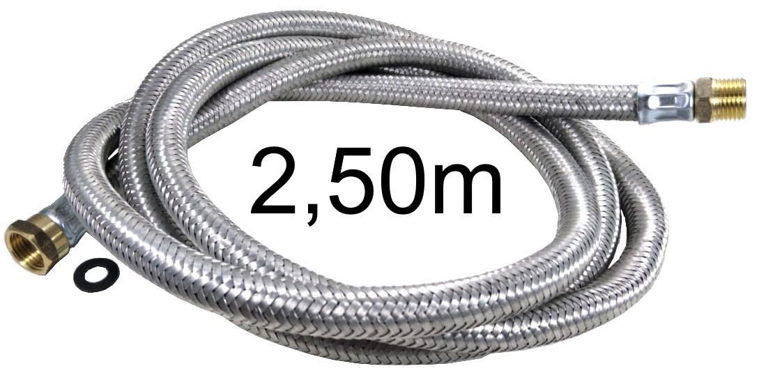 """Mangueira Flexível Malha de Aço 1/2"""" - 2,50m - Ref. 01986"""