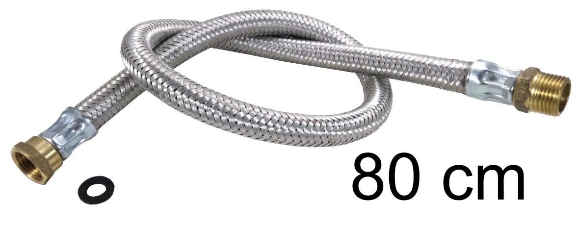 """Mangueira Flexível Malha de Aço 1/2"""" - 80cm - Ref. 01981"""