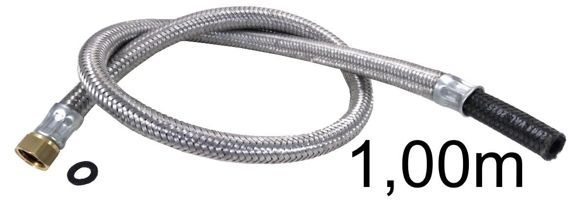 """Mangueira Flexível Malha de Aço 1/2"""" Fêmea x 3/8"""" Bico - 1,00m - Ref. 01697"""