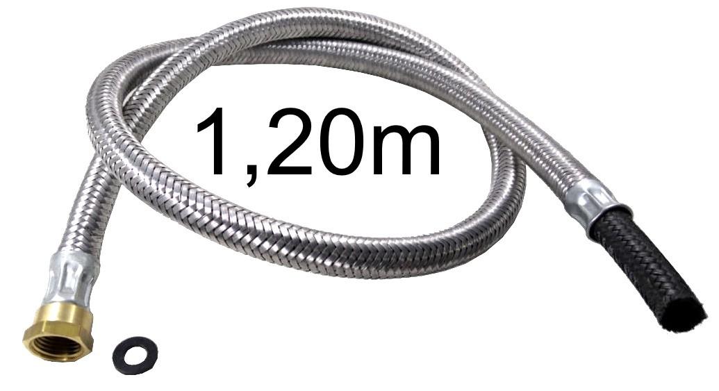 """Mangueira Flexível Malha de Aço 1/2"""" Fêmea x 3/8"""" Bico - 1,20m - Ref. 01698"""