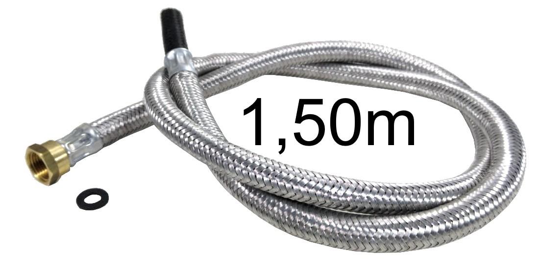 """Mangueira Flexível Malha de Aço 1/2"""" Fêmea x 3/8"""" Bico - 1,50m - Ref. 01699"""