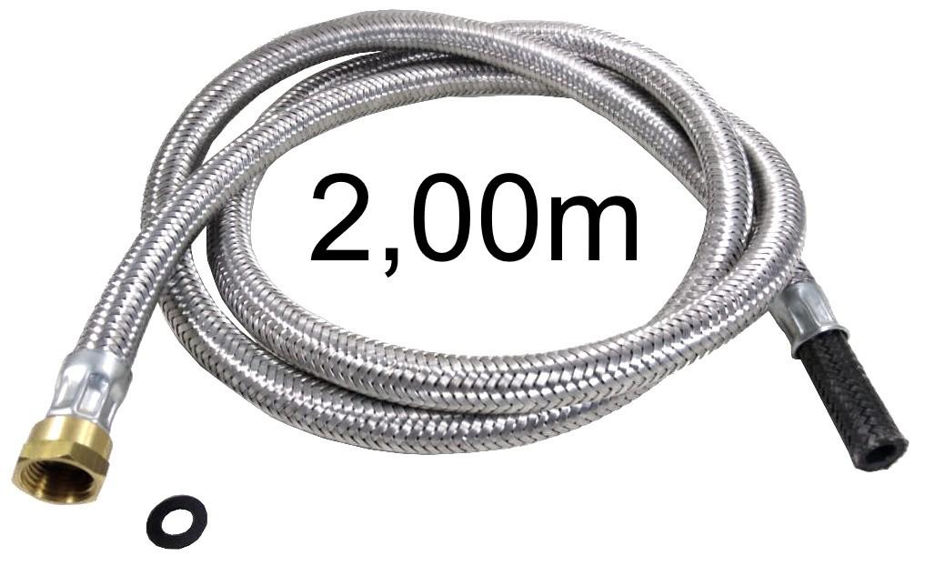 """Mangueira Flexível Malha de Aço 1/2"""" Fêmea x 3/8"""" Bico - 2,00m - Ref. 01700"""