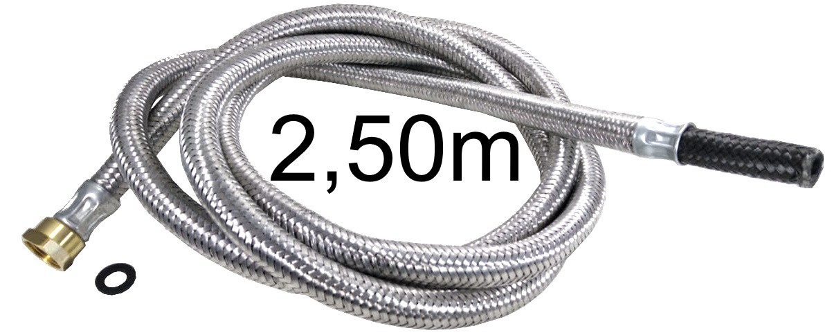 """Mangueira Flexível Malha de Aço 1/2"""" Fêmea x 3/8"""" Bico - 2,50m - Ref. 01701"""