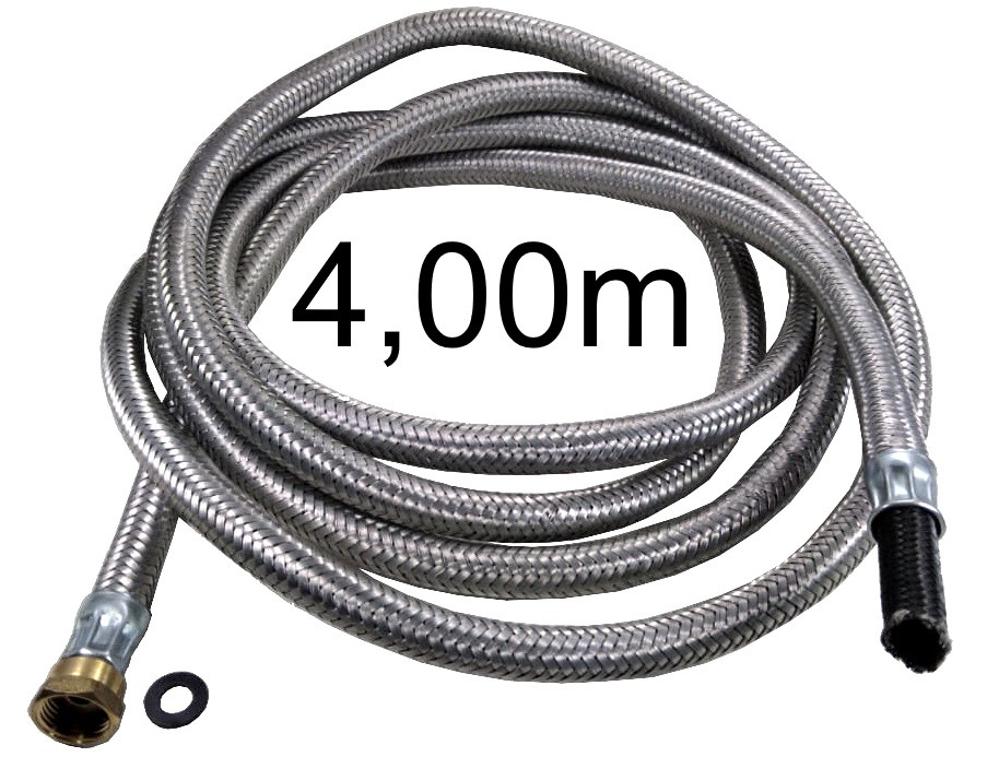 """Mangueira Flexível Malha de Aço 1/2"""" Fêmea x 3/8"""" Bico - 4,00m - Ref. 01703"""