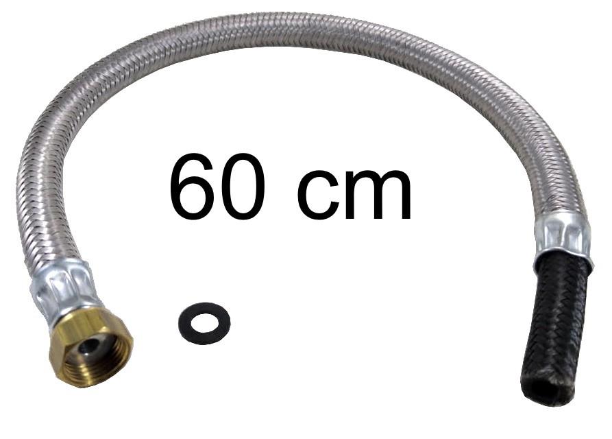 """Mangueira Flexível Malha de Aço 1/2"""" Fêmea x 3/8"""" Bico - 60cm - Ref. 01695"""
